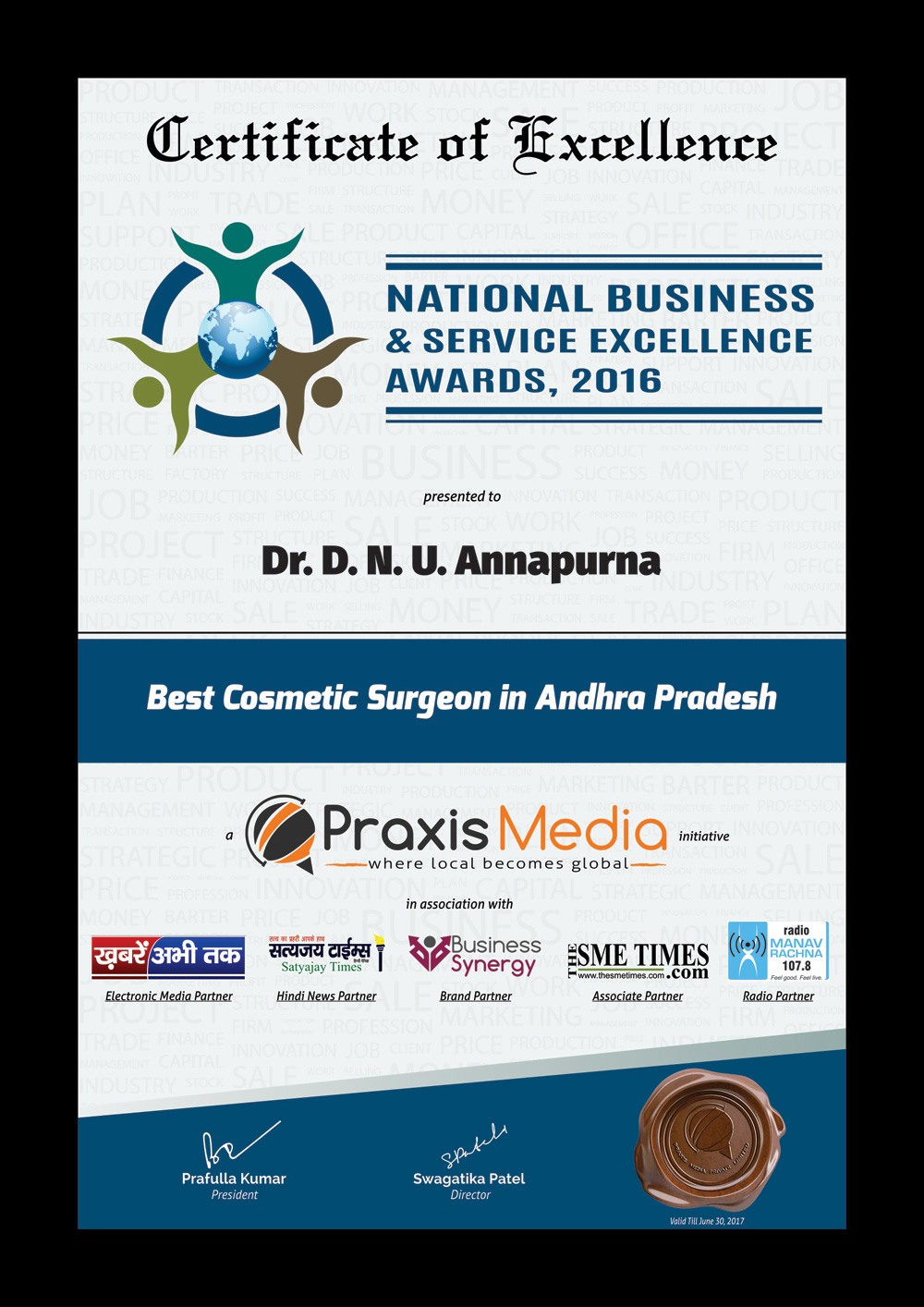 National Business & Service Excellence Awards 2016